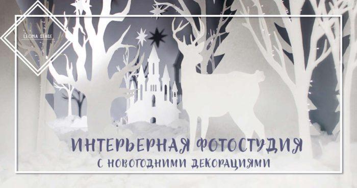 Интерьерная фотостудия с новогодними декорациями