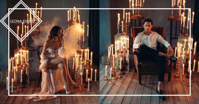 Огненная свадебная фотосессия